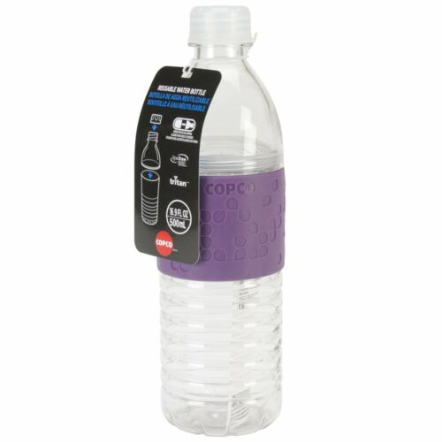 Purple Copco Hydra Water Bottle With Non Slip Sleeve BPA Free Reusable 16.9 Oz