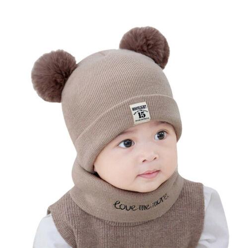 Gorros De Invierno Para Niños Bebes Cálido Ropa Gorro Baby 2 Piezas Unisex Niño