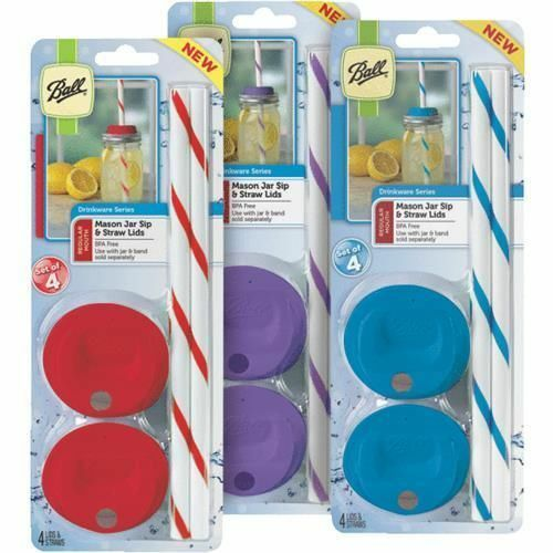"1 Pack of 4 sets Ball Mason Jar Sip and Straw Lids *Super Fast Shipping!"""