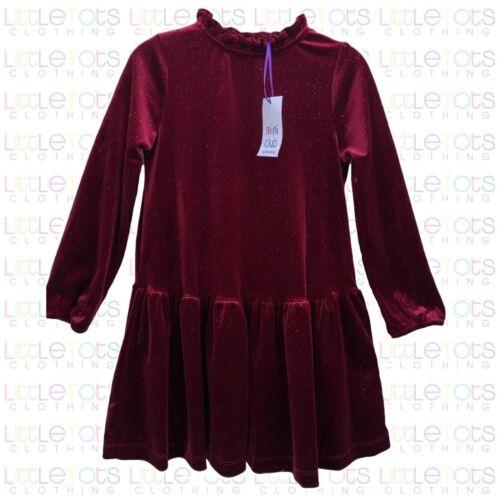 Mothercare Mini Club Burgundy Velour Shimmer Christmas Xmas Party Dress 1-6yrs