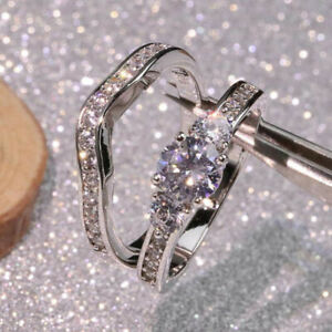 925 SILVER FILLED WHITE SAPPHIRE CZ CRYSTAL STONE 2 RING WEDDING SET