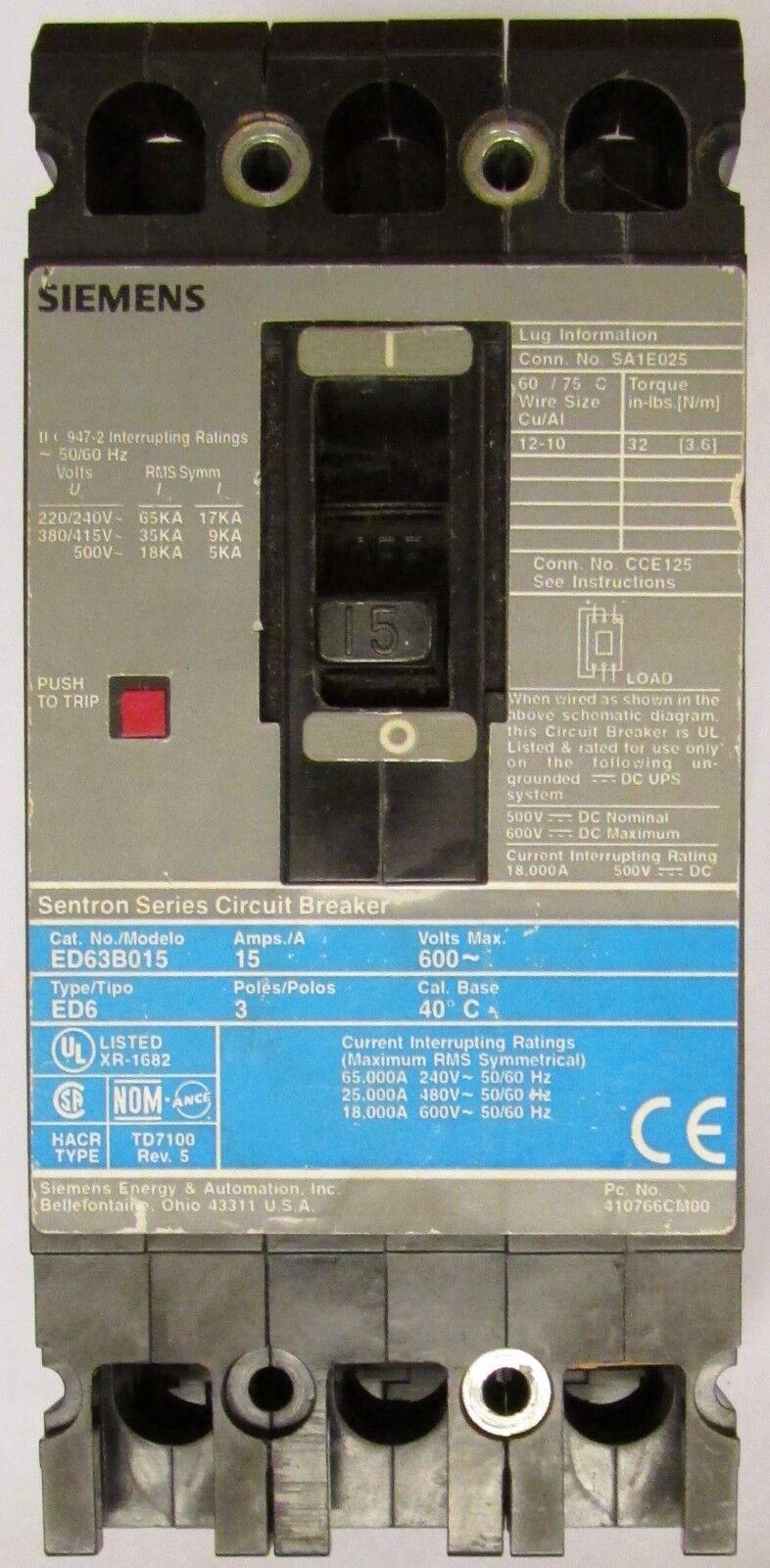 Siemens ED63B015 Sentron Molded Case Circuit Breaker 15a 600v   eBay
