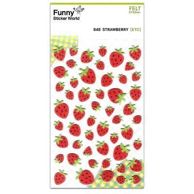 CUTE STRAWBERRY FELT STICKERS Fruit Kawaii Sticker Sheet Craft Scrapbook NEW Red