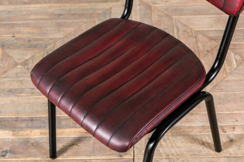STACKING DINING CHAIR IN VINTAGE RED RIBBED FAUX LEATHER CAFE RESTAURANT CHAIR