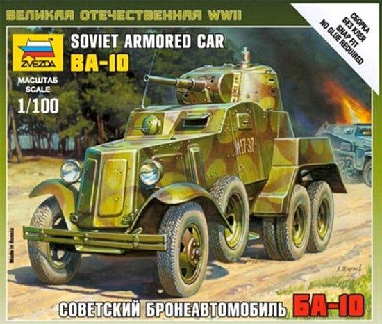 Zvezda 6149 - 1/100 Wargame Addon Russischer Ba-10 Panzerwagen - Neu