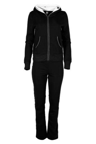 Ladies Womens Full Sleeve Contrast Hoody Sports Tracksuit Fleece Knit Jogsuit