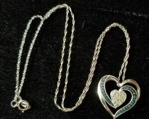 927fae2b3 Image is loading Kay-Jewelers-sterling-silver-Blue-white-Diamond-heart-