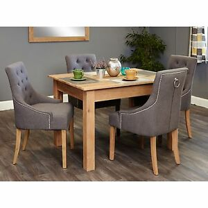 Pleasant Details About Mobel Solid Modern Oak Furniture Small Dining Table And Four Luxury Chairs Set Interior Design Ideas Clesiryabchikinfo