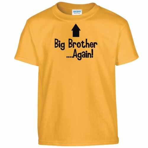 Youth New Baby Surprise Gift Big Brother Again Cool Kids Funny Tee Tshirt