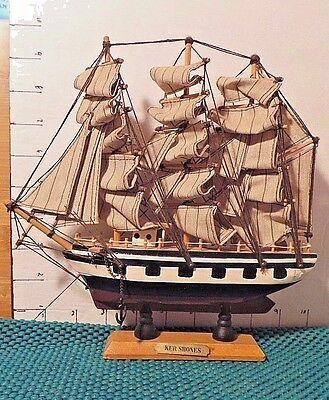 """Sailing Ship, """"Ker Shones"""", 3 Masted, 2 Anchors, Plank, World Bazaars Inc."""