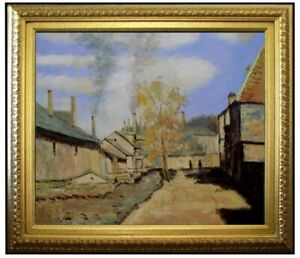 Framed-Claude-Monet-Robec-Stream-Repro-Hand-Painted-Oil-Painting-20x24in