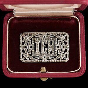 Antique-Vintage-Deco-Sterling-Silver-Rhodium-Monogrammed-Marcasite-Brooch-Pin