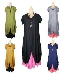 Lagenlook-viscose-Surdimensionne-magnifique-Maxi-Robe-Longue-Taille-20-22-24-26-28