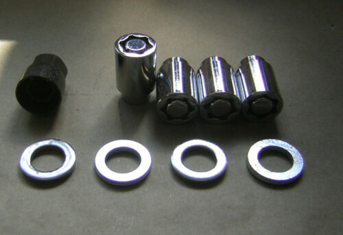 "Wheel Locks Chrome 1//2/"" Mag Wheels Short Shank  with washers and locking tool"