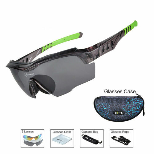 RockBros Polarized Bike Sunglasses Cycling Glasses Anti-sweat UV400 Black Green