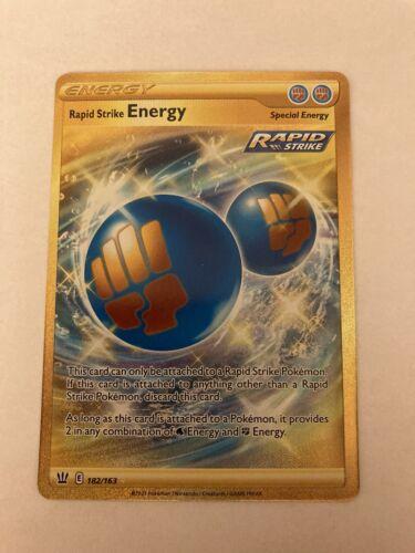 Pokemon Battle Styles Rapid Strike Energy Secret Gold Rare 182/163