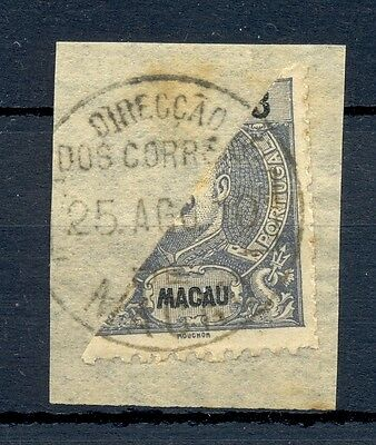 MACAU CHINA 1910 STAMP BISECTED ON PIECE   @5
