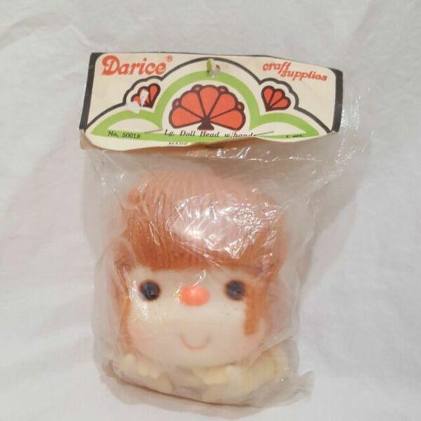 "Darice 4 1//2/"" Yarn Head Plastic Doll Head Red"