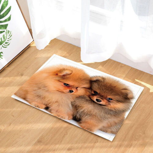 Cute Pomeranian Pet Dog Animal Non Slip Rug Carpet Bedroom Bathroom Mat Doormat