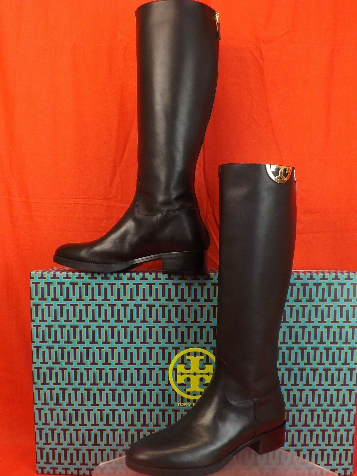 d4e9635a37e9 NIB TORY BURCH SIDNEY SIDNEY SIDNEY BLACK LEATHER GOLD HALF REVA TALL RIDING  BOOTS 8.5  495 7788d9