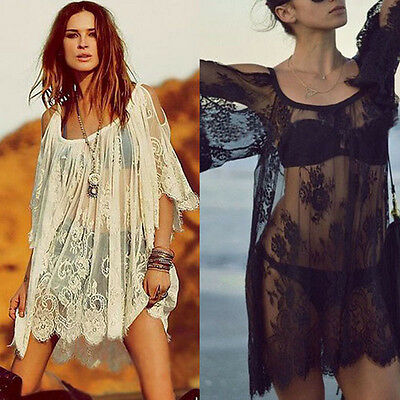 SUMMER WOMENS Dress Beach Hippie Boho Embroidered Floral Lace Crochet Mini Dress