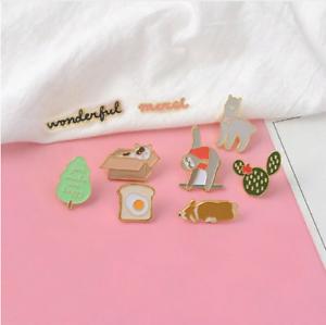 Corgi-Sloth-Alpaca-Cat-Dog-Cactus-Tree-Enamel-Pins-Badges-Brooches-Badges-Lapel