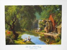 """Paul Detlefsen Art """"Good Old Days"""" Boys Fishing Old Mill Waterwheel Vintage MINT"""