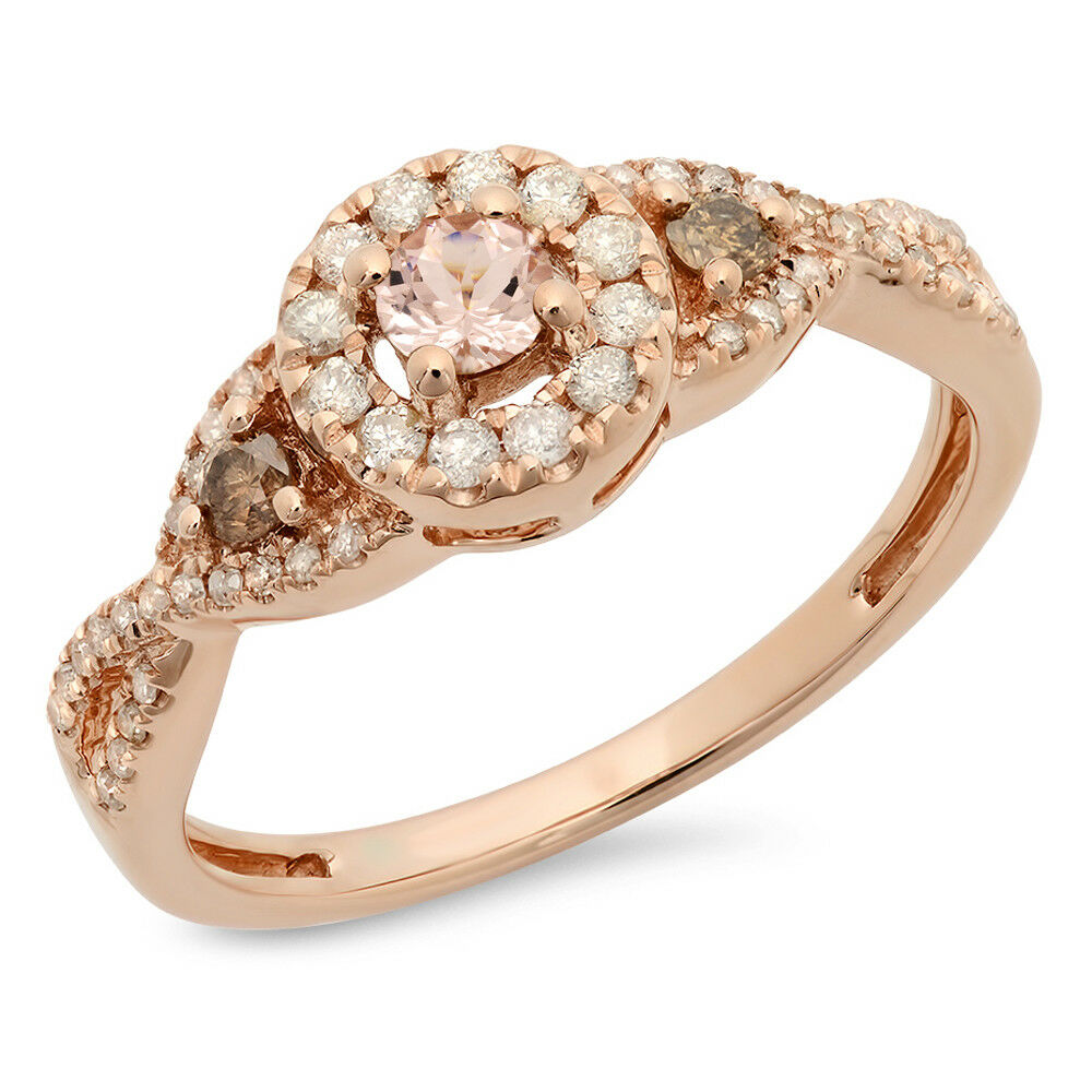 10K pink gold Diamond 3 Stone Swirl Halo Bridal Engagement Ring