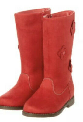 GYMBOREE BRIGHTEST IN CLASS RED POPPY FLOWER SUEDE BOOT 9 10 11 12 13 1 2 3 NWT