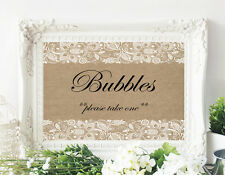 Wedding Table Sign - Bubbles Sign Table Card Rustic Burlap and Lace- 8 x 10