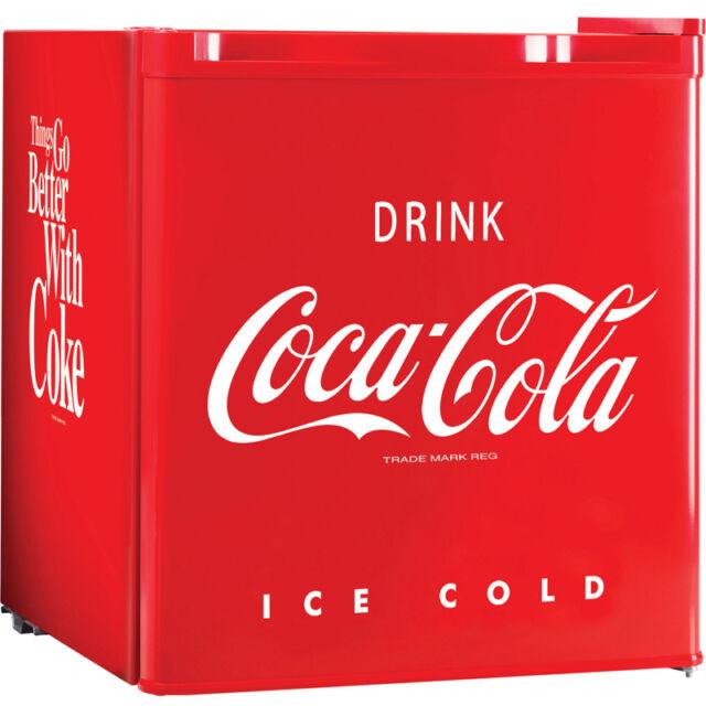 Coca Cola Mini Fridge w/ Small Top Freezer, Compact Food & Beverage Refrigerator