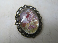 Vintage Bronze Plated Flower The Heliotrope Fairy Design Brooch New in Gift Bag
