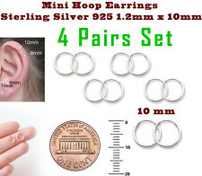 Mini Hoop Earrings Sterling Silver 925 1.2mm x 10mm 4 Pairs Set Super Small
