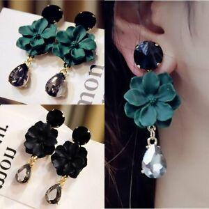 Fashion-Long-Flowers-Earrings-Women-Crystal-Water-Drop-Dangle-Ear-Stud-Jewelry