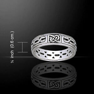 Celtic Knotwork .925 Sterling Silver Ring by Peter Stone