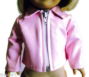 "Pink Vinyl Jacket Coat made to fit 18"" American Girl Doll Clothes"