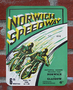 Vintage Tin Sign 1948 Norwich Speedway Programme Metal Sign Man Cave