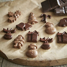 Christmas Silicone Chocolate Moulds or Ice Cube Tray Santa Tree Holly Bells NEW