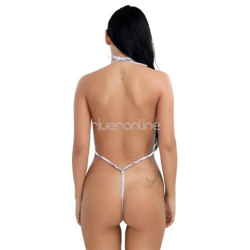 Frauen Neckholder Bikini Badeanzug Rückenfrei Monokini Micro Mini Body Dessous