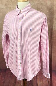 Ralph-Lauren-Polo-Button-Down-Long-Sleeve-100-Cotton-Pink-Stripe-Shirt-Men-039-s-XL