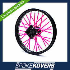 COUVRE RAYON ROSE DIRT BIKE PIT MINI 50 ROUE JANTE SPOKE COVERS SKINS VELO TRIAL