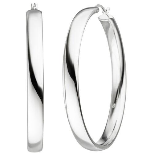 Damen Creolen 925 Sterling Silber Ohrringe Silbercreolen Silberohrringe 50,4 mm