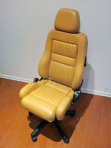 Alfa-Romeo-Seat-Office-Chair-Leather-Height-amp-Tilt-Adjustable-Genuine-GTV-TAN