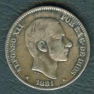 1881-Spanish-Philippines-50-Centimos-ALFONSO-XII-Rey-De-Espana-SILVER-Coin-AA1