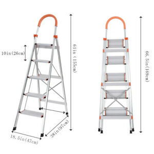 Amazing Details About New 5 Step Ladder Heavy Duty Folding Stepladder Platform Stool Non Slip Aluminum Squirreltailoven Fun Painted Chair Ideas Images Squirreltailovenorg