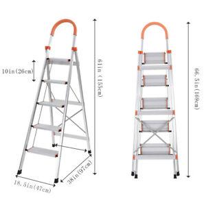 Strange Details About New 5 Step Ladder Heavy Duty Folding Stepladder Platform Stool Non Slip Aluminum Machost Co Dining Chair Design Ideas Machostcouk