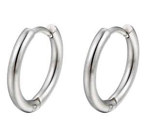 Men Children Huggie Hoop Earrings Small 14mm X 2mm Stainless Steel