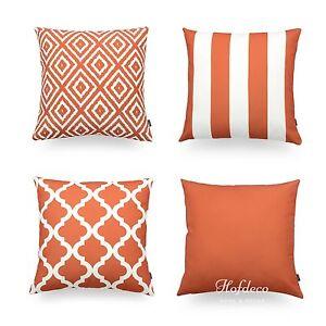 Hofdeco Decorative Throw Pillow Cover Geometric Burnt Orange Cushion
