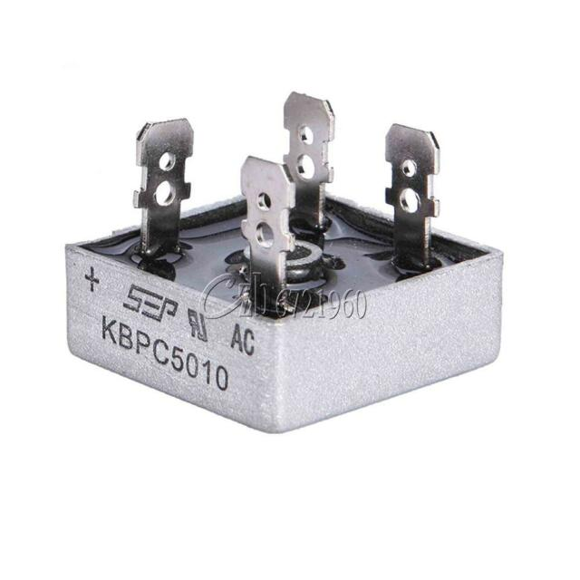 2pcs 50A 1000V Metal Case Single Phases Diode Bridge Rectifier KBPC5010 NEW