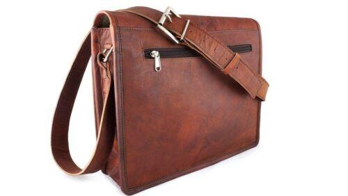 Men/'s /& women/'s Dark Genuine Vintage Leather Satchel Messenger Laptop case Bag